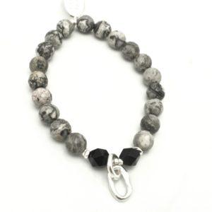 Orange Avocado Snakeskin Stone & Fine Silver Stretch Bracelet