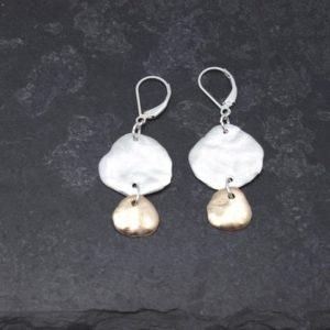 Bold silver bronze molten earrings black bkgd large image